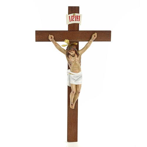Classic crucifix, 30cm in wood paste with elegant decorations 1
