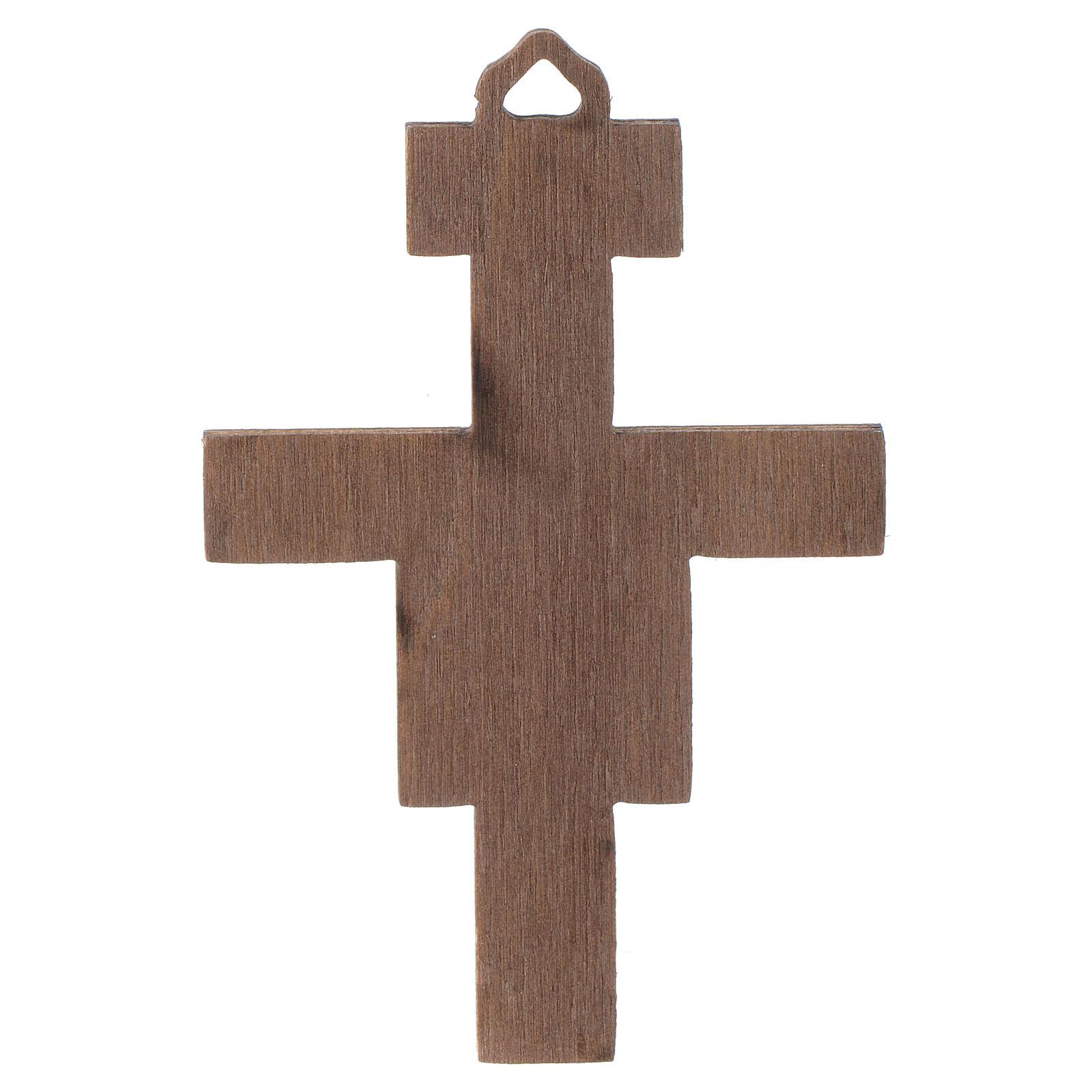 Crucifix St Damien en bois 8cm 4
