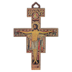 Crucifix St Damien en bois 8cm s1