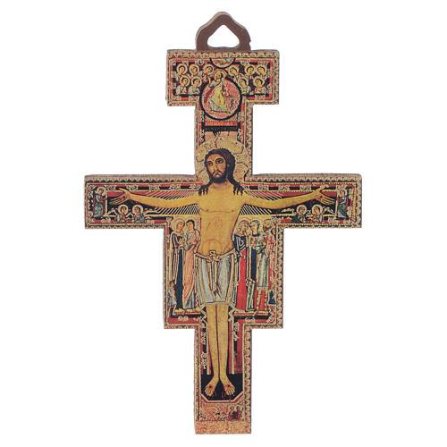 Crucifix St Damien en bois 8cm 1