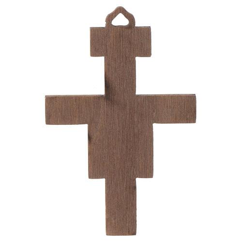 Crucifix St Damien en bois 8cm 2
