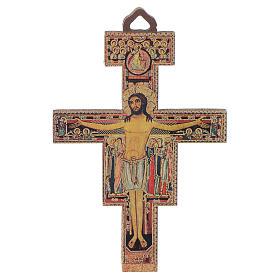 Crocifisso legno San Damiano 8 cm s1