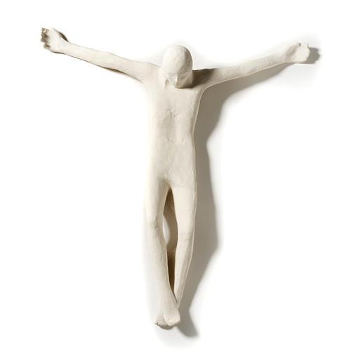 Corpo di Cristo stilizzato 66 cm argilla bianca 2