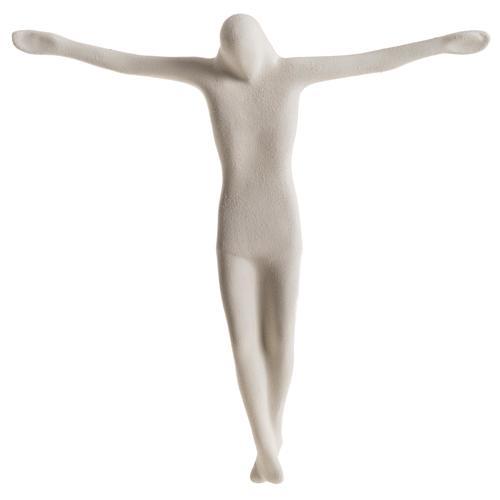 Crucifix stylisé argile blanche et croix bois 28 cm 6