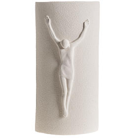 Crucifixes in ceramic, porcelain and clay: Bas-relief, Stele model crucifix 29,5 cm