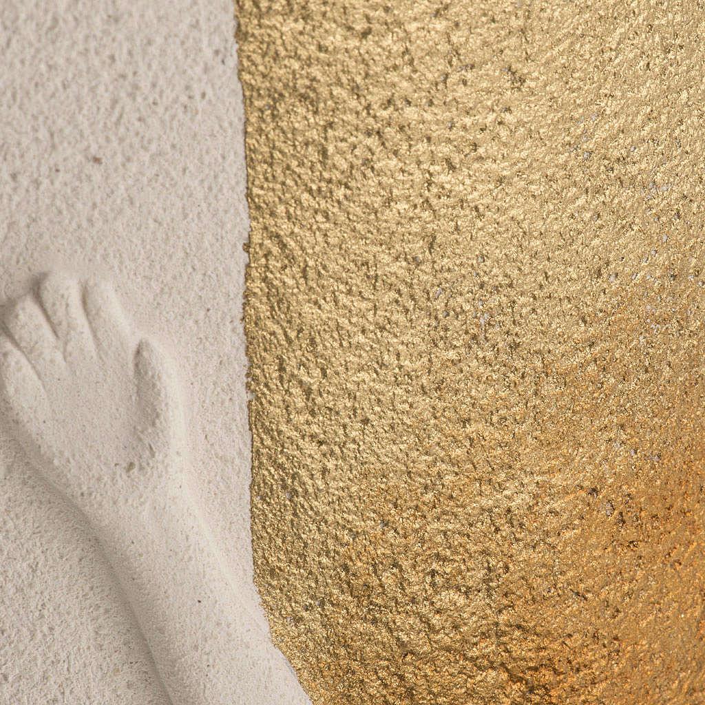 Crocefisso Stele argilla bianca e oro 29,5 cm 4