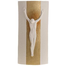 Crocefisso Stele argilla bianca e oro 29,5 cm s1