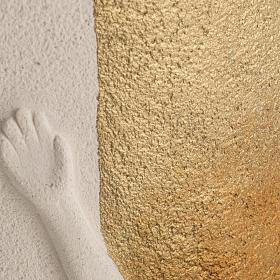 Crocefisso Stele argilla bianca e oro 29,5 cm s4