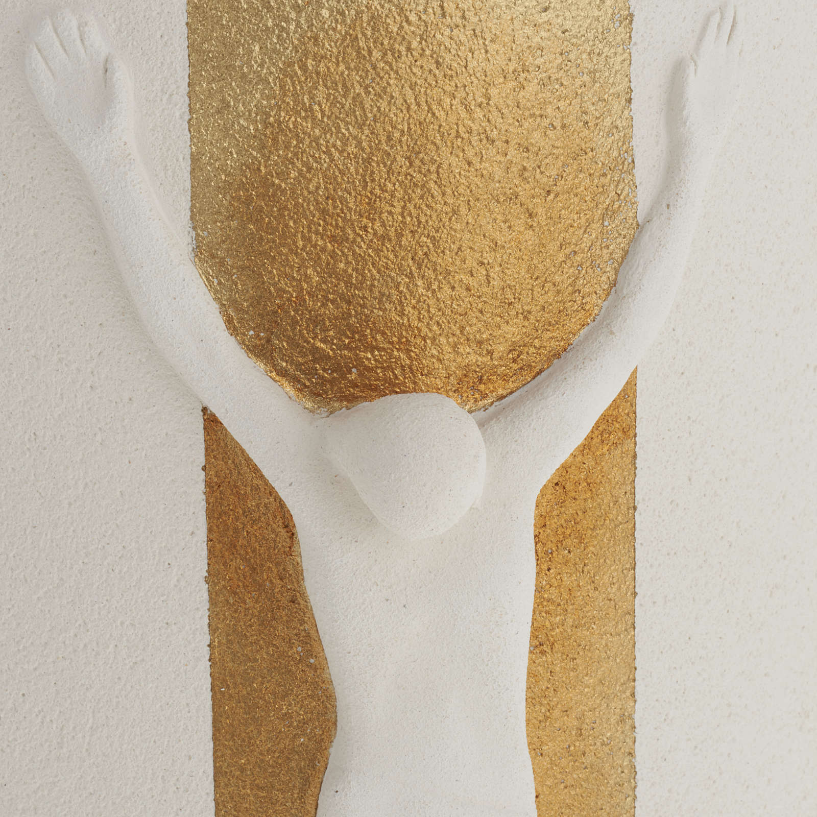 Crocefisso Stele argilla bianca oro con luce 29,5 cm 4