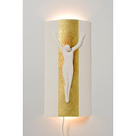 Crocefisso Stele argilla bianca oro con luce 29,5 cm s1