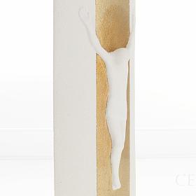 Crocefisso Stele argilla bianca oro con luce 29,5 cm s4