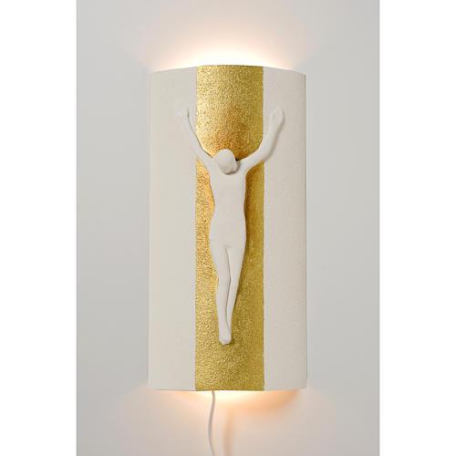 Crocefisso Stele argilla bianca oro con luce 29,5 cm 1