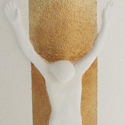 Crocefisso Stele argilla bianca oro con luce 29,5 cm 3