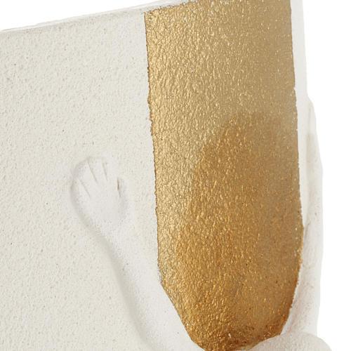 Crocefisso Stele argilla bianca oro con luce 29,5 cm 5
