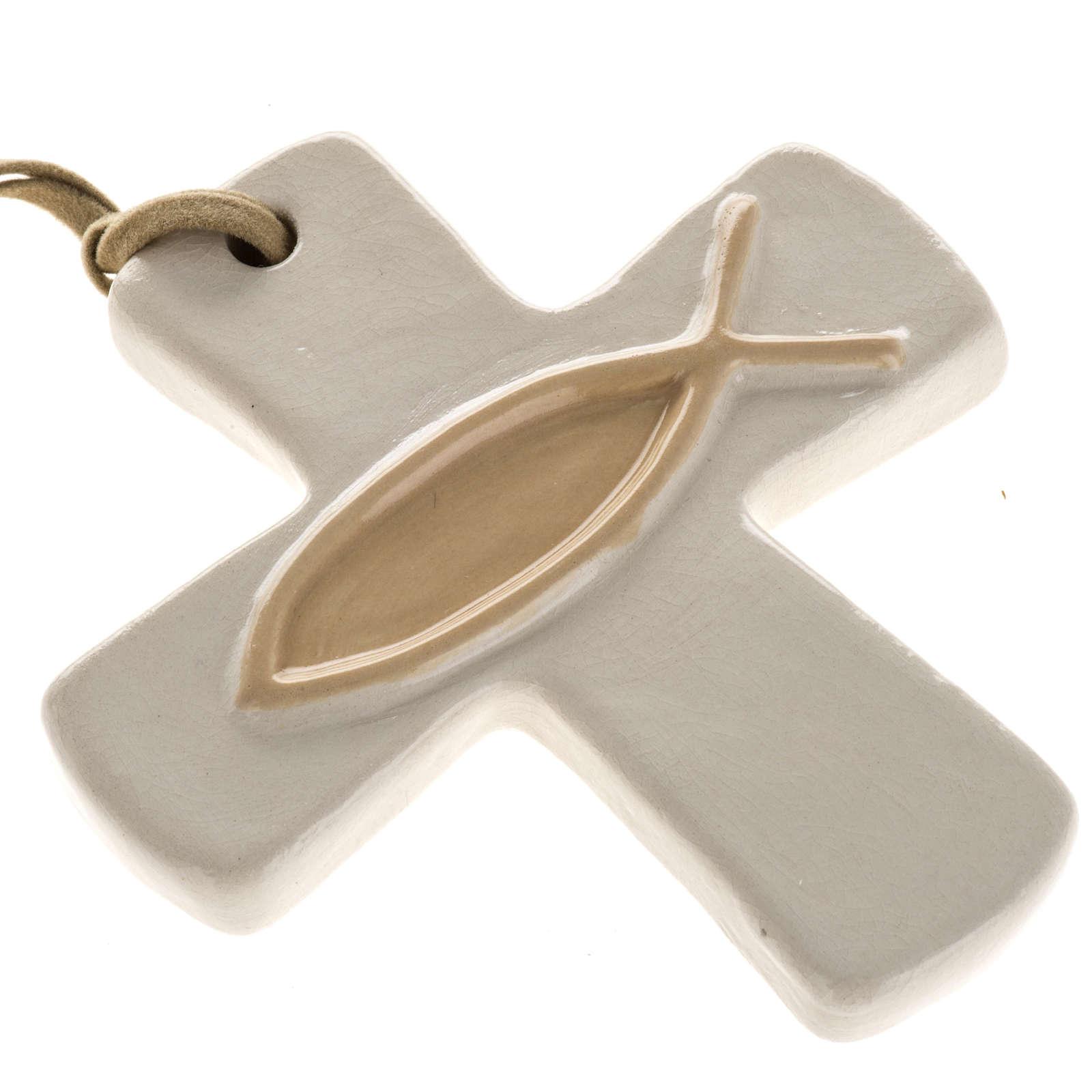 Croce ceramica artistica avorio pesce beige 4