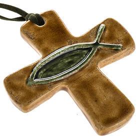 Croce ceramica marrone pesce verde s1