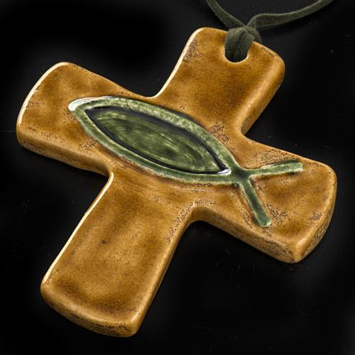 Croce ceramica marrone pesce verde 2