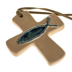 Croce ceramica artistica beige pesce verde s1