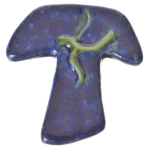 Croix tau en céramique bleue avec colombe verte 1