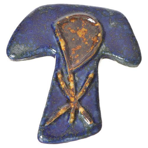 Croce tau ceramica XP blu marrone 1