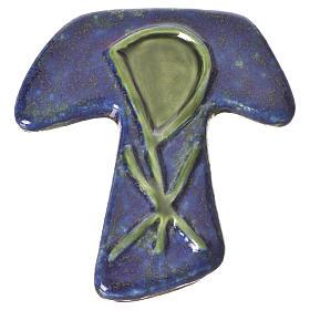 Croce tau ceramica XP blu verde s1