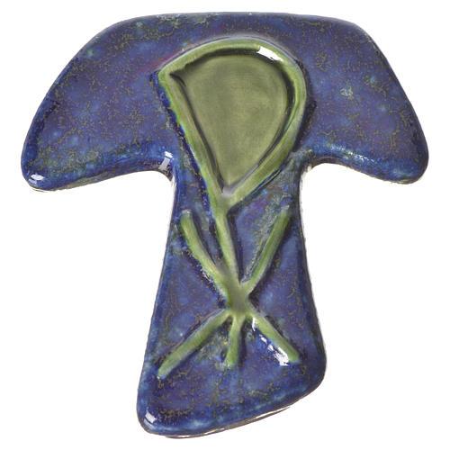 Croce tau ceramica XP blu verde 1