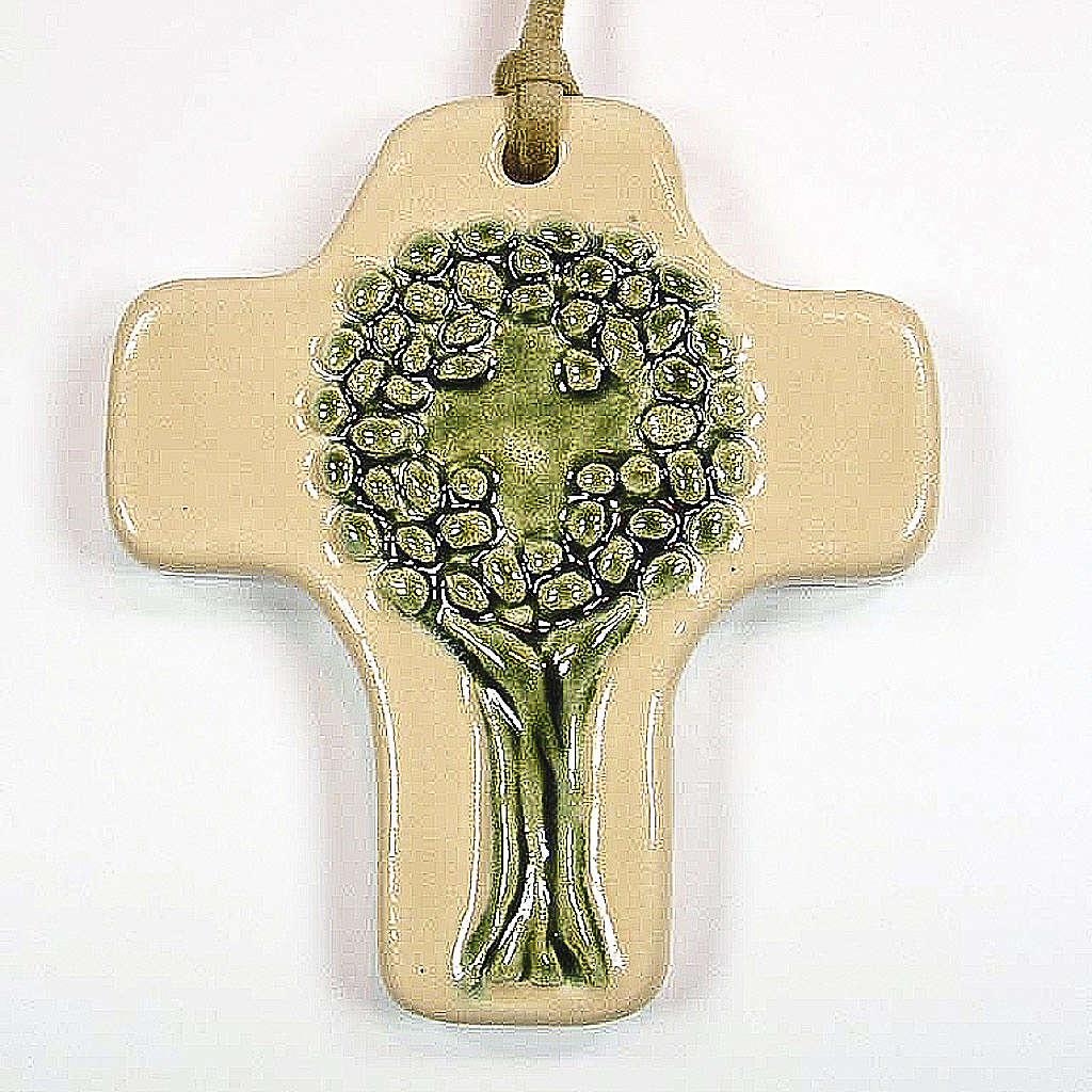 Croce albero della vita ceramica avorio verde 4