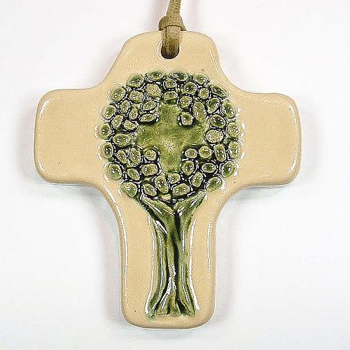 Croce albero della vita ceramica avorio verde 1