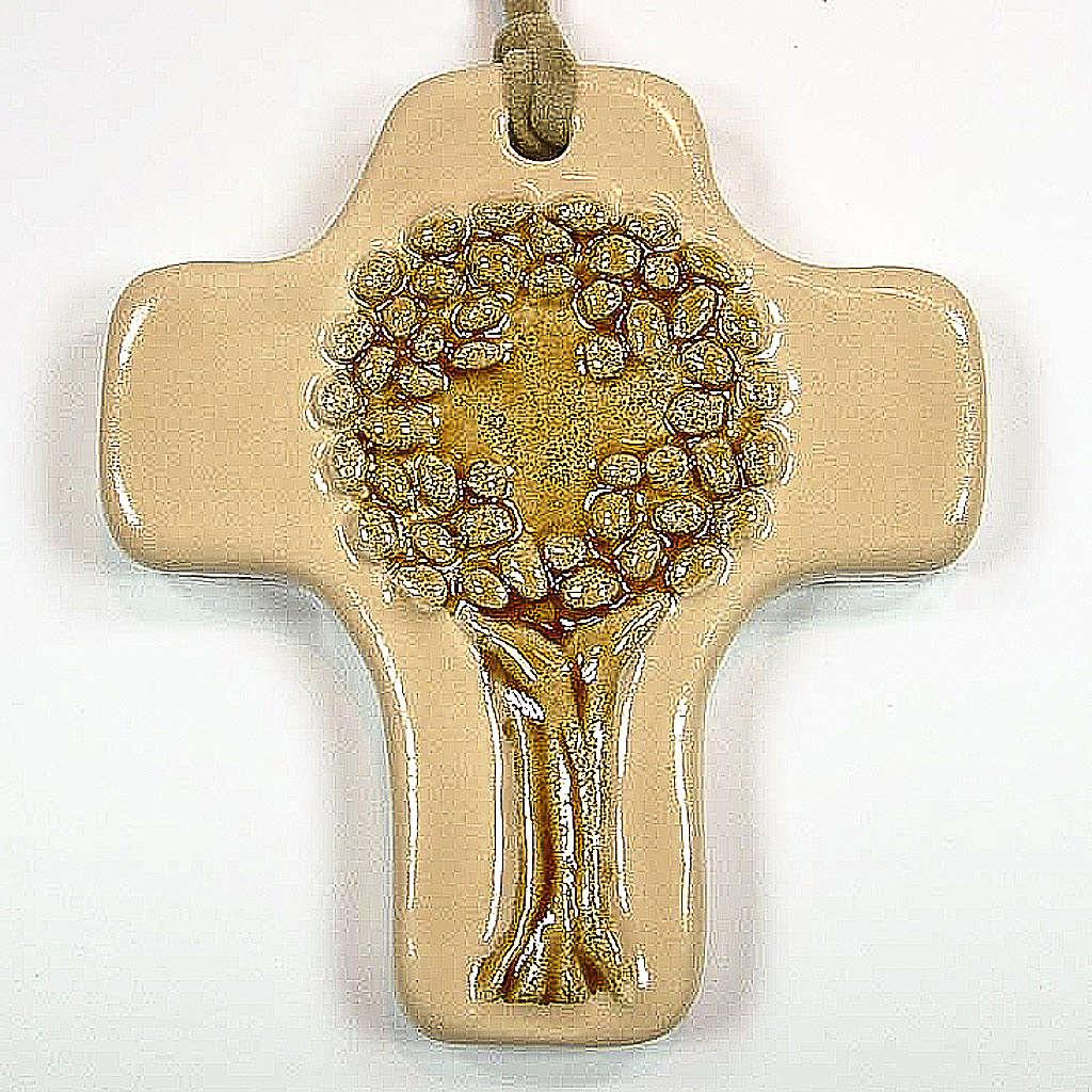 Croce albero della vita ceramica avorio arancione 4