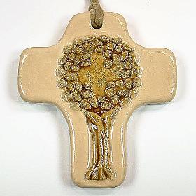 Croce albero della vita ceramica avorio arancione s1
