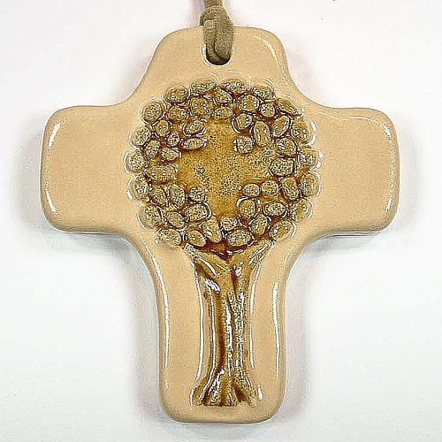 Croce albero della vita ceramica avorio arancione 1