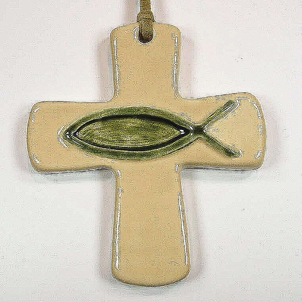 Croce ceramica artistica pesce avorio verde 4