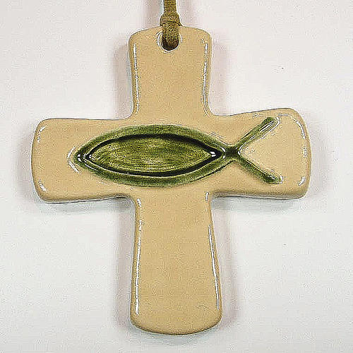 Croce ceramica artistica pesce avorio verde 1