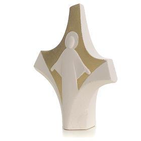 Croix Christ Ressuscité Gold à poser argile réfractaire s2