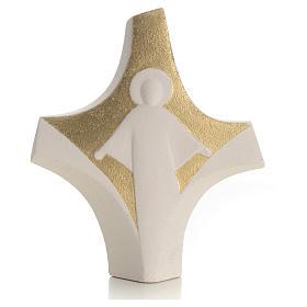 Krzyż z gliny szamotowej, złoty na stół s1