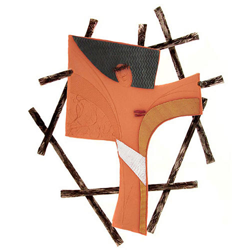 Cruz de pared cerámica Emmaus reja en hierro forjado 1