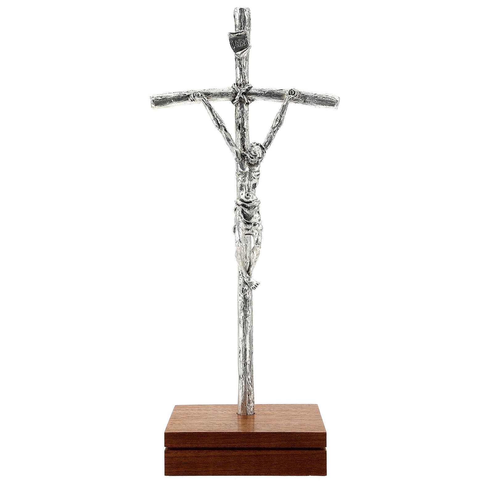 Kruzifix Pastoral Kreuz Johannes Paul II silbrigen Metall 4