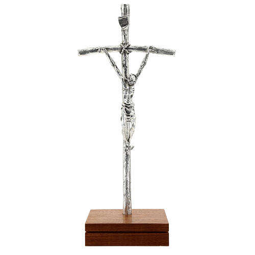 Kruzifix Pastoral Kreuz Johannes Paul II silbrigen Metall 1