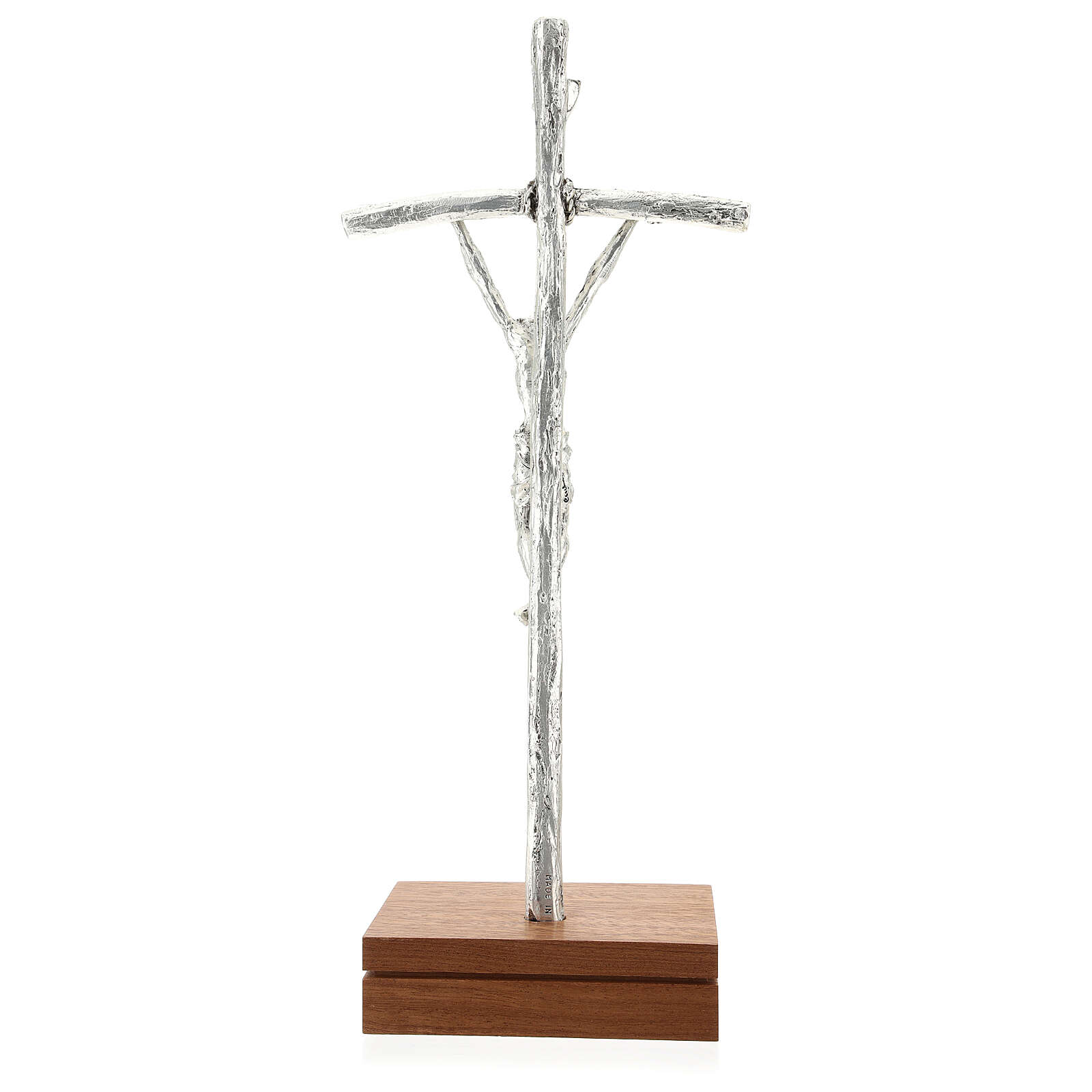 Crucifix de table image Jean Paul II avec base, métal argent&ea 4