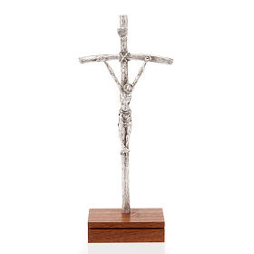 Crucifix de table image Jean Paul II avec base, métal argent&ea s1