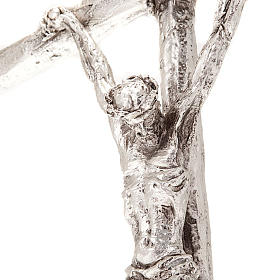 Crucifix de table image Jean Paul II avec base, métal argent&ea s2
