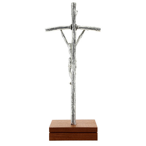 Crucifix de table image Jean Paul II avec base, métal argent&ea 6