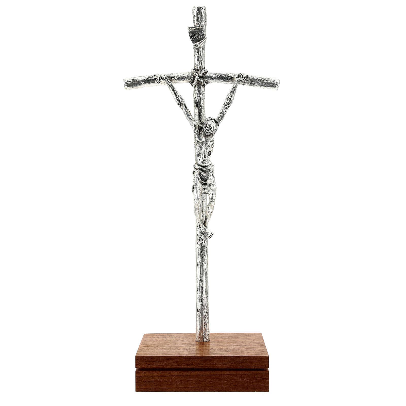 Crocefisso pastorale Giovanni Paolo II argentato con base 4