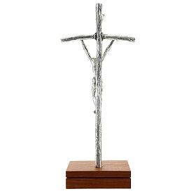 Crocefisso pastorale Giovanni Paolo II argentato con base s6