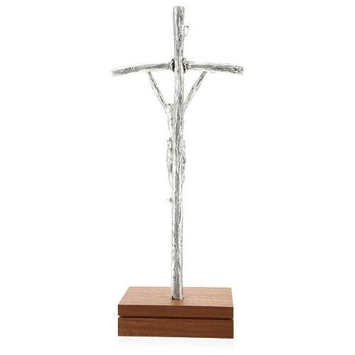 Crocefisso pastorale Giovanni Paolo II argentato con base 5