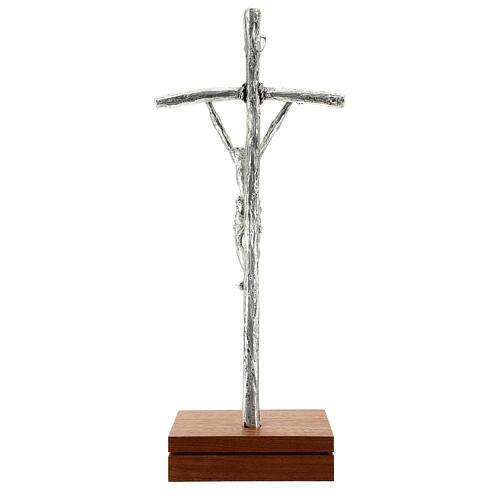 Crocefisso pastorale Giovanni Paolo II argentato con base 6