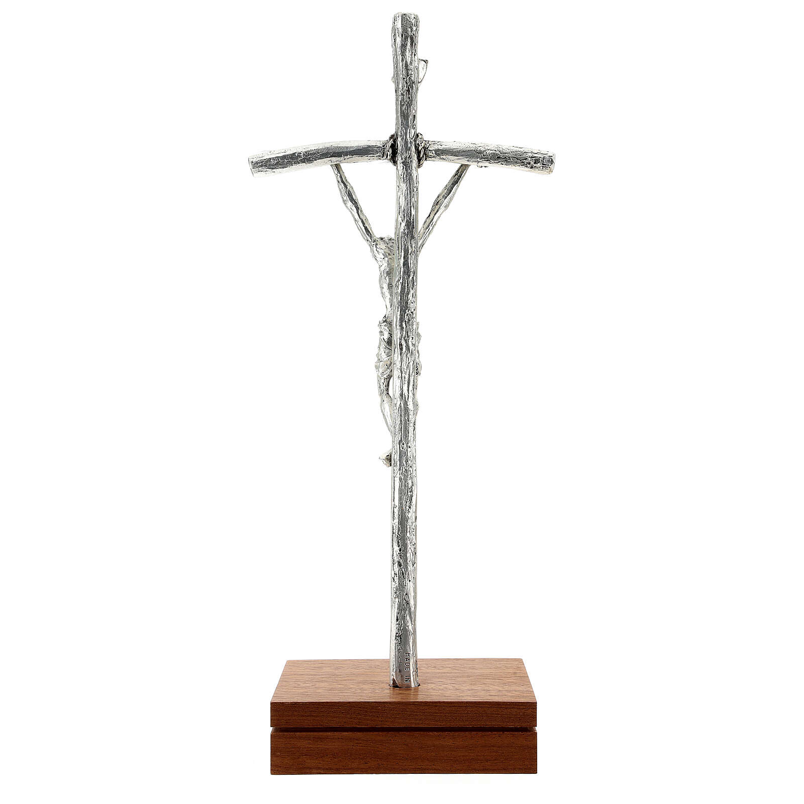 Crucifixo papa João Paulo II prateada com base 4