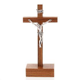 Crocefisso legno dritto con base 12.5x6 cm s1