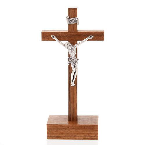 Crocefisso legno dritto con base 12.5x6 cm 1