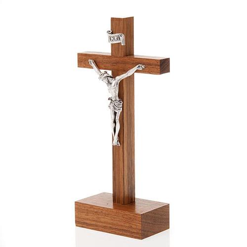 Crocefisso legno dritto con base 12.5x6 cm 2